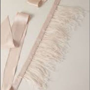 BHLDN *NEW* Marlow Feather Bridal Sash Pale Pink